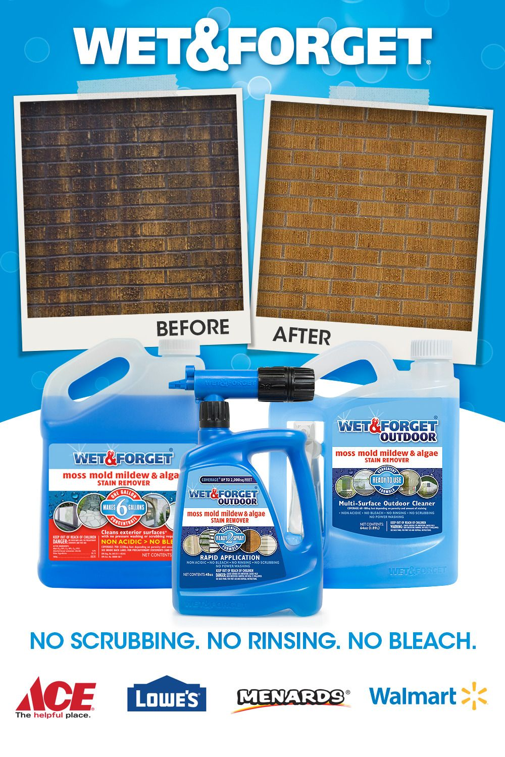 Easily Clean Virtually Any Exterior Surface Without Any Scrubbing Rinsing Or Bleach Wet Forget Cleans Green And B In 2020 Cleaning Outdoor Cleaning Mildew Remover