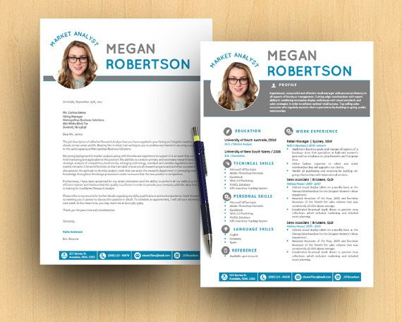Turquoise Photograph DIY Neat Modern Microsoft Word Printable Resume - resume 1 or 2 pages