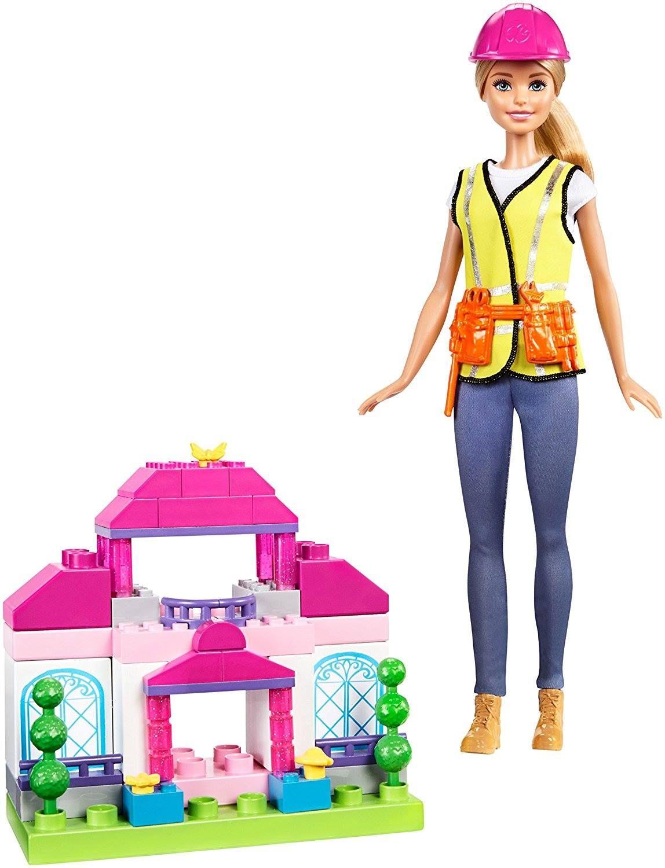 Barbie Mega Bloks Blonde Hair Purple Top Baby Pink Skirt Doll