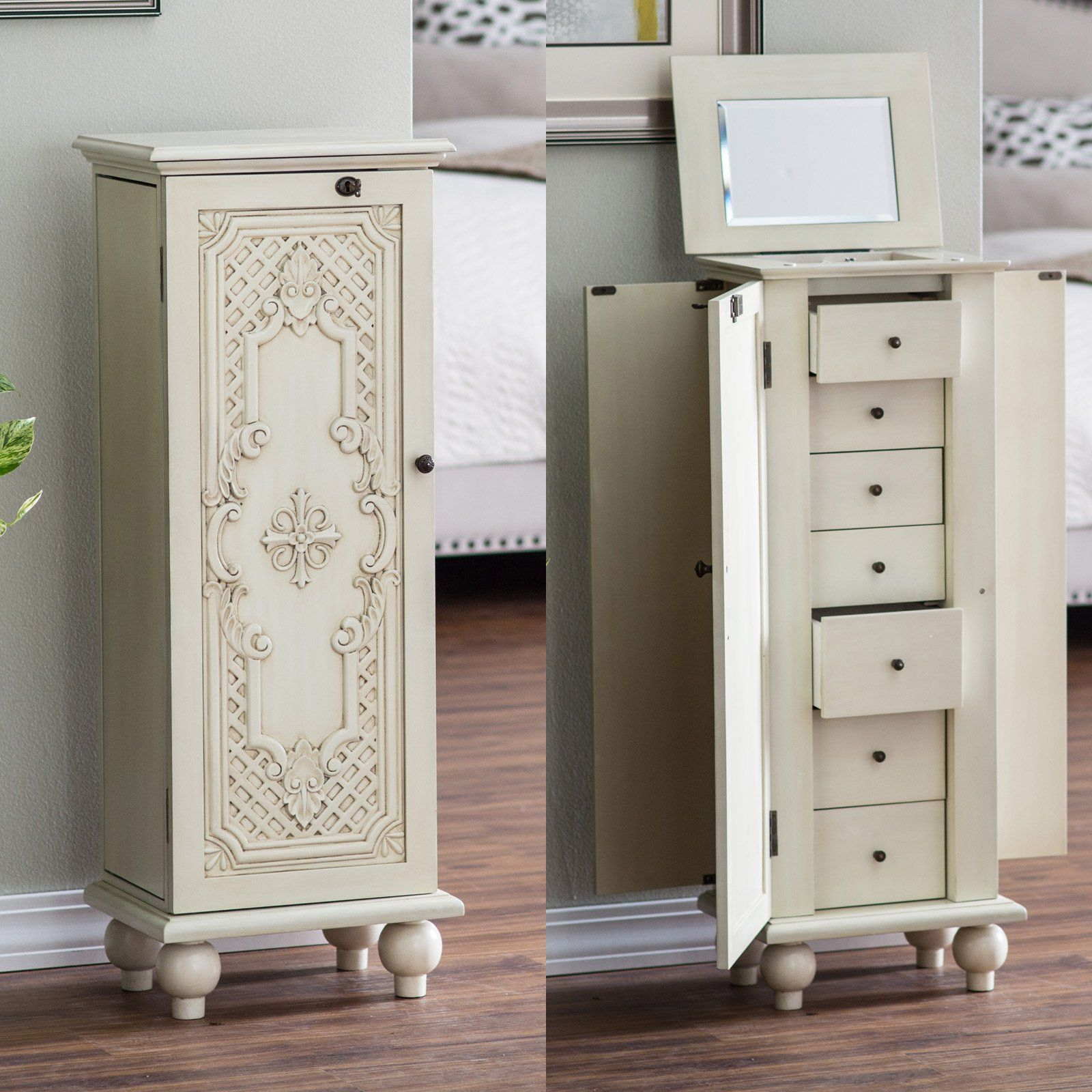 Belham Living Locking Ornate Door Jewelry Armoire from hayneedle