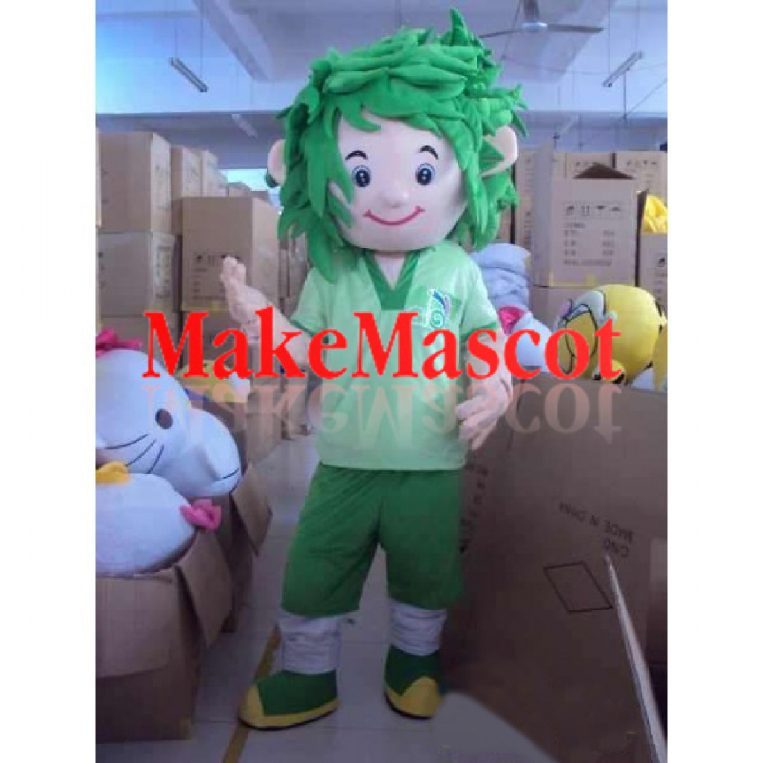 Football Player Mascot With Green Hair All Messed Up Mascot Costume In 2020 Mascot Costumes Football Players Mascot