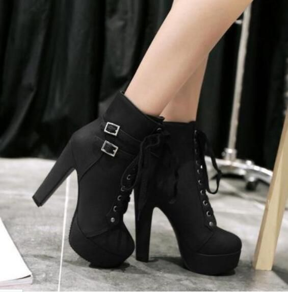 adf24d9d8f788 Women Punk Buckle High Heels Chunky Lace Up Platform Ankle Boots ...