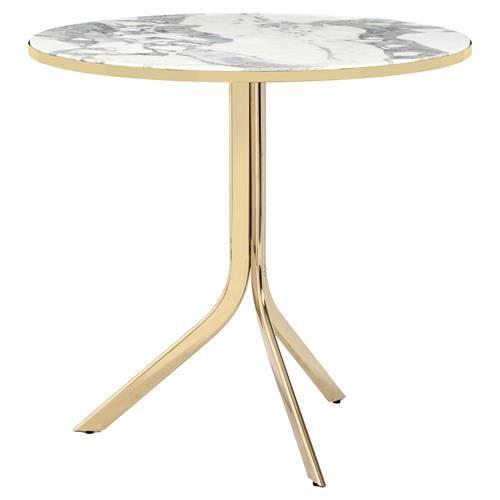 Enjoyable Interlude Carina Modern Brass Marble Folding Bistro Table Bralicious Painted Fabric Chair Ideas Braliciousco