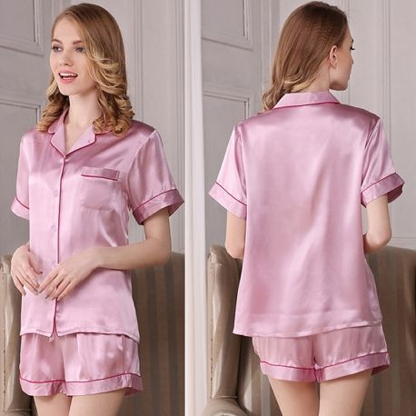 19 Momme Silk Shirt and Shorts Pajama Set with trim  91711ee62