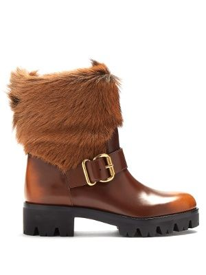 fashion special section footwear Fur-trimmed leather ankle boots | Prada | MATCHESFASHION.COM UK ...