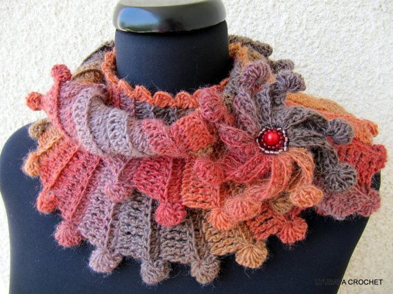 Crochet Scarf PATTERN, Fantasy Scarf With Flower, Multicolor Scarf ...