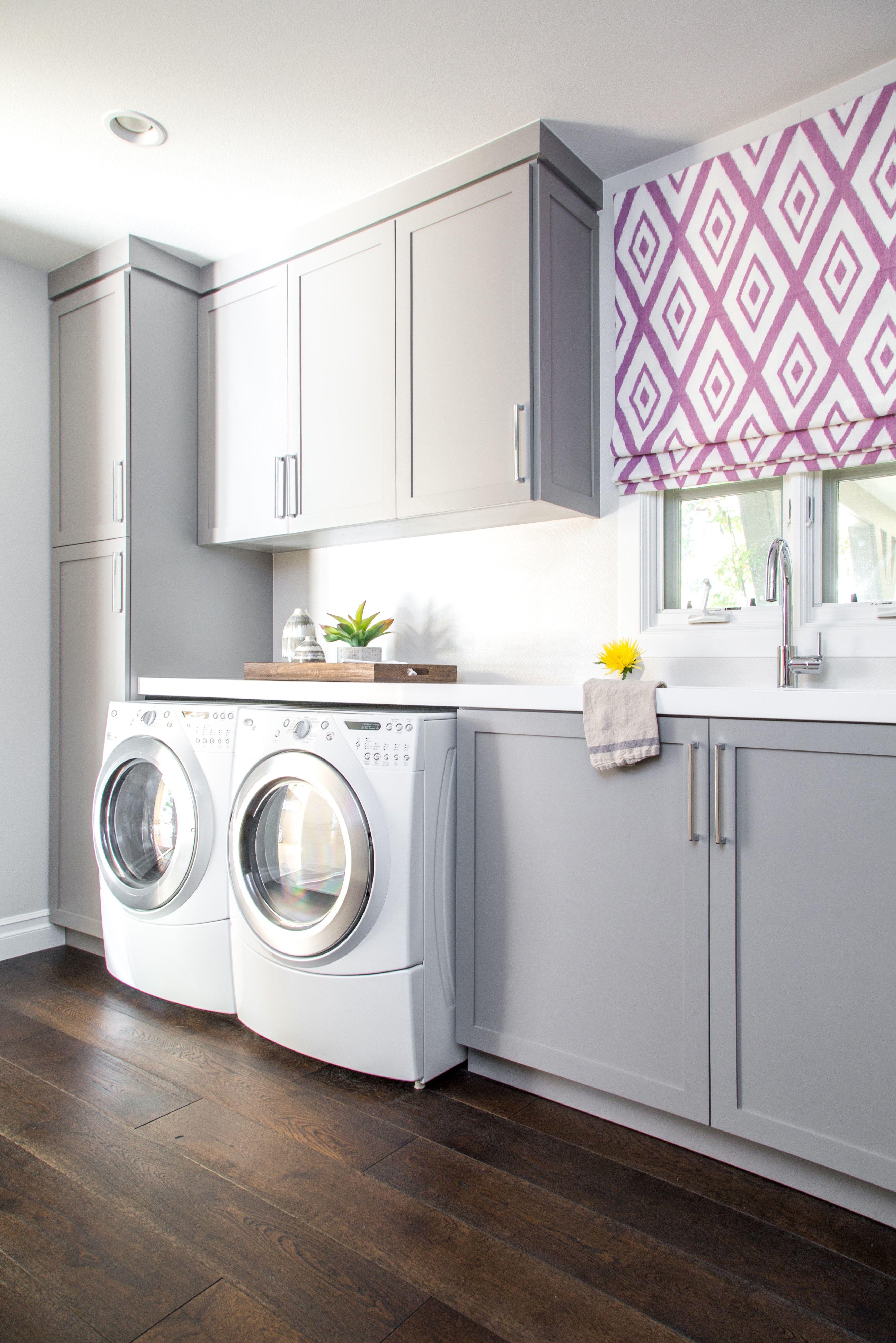 Laundry Room Light Grey Cabinetry Diamond Fabric Roman Shade Quartz Bathroom Freestanding Laundry Room Inspiration Home