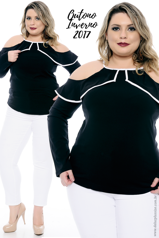 f342af618 Blusa Plus Size Leona - Preto e Branco - Coleção Outono Inverno Plus Size -   daluzplussize