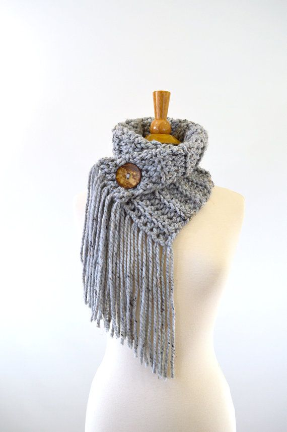 Fringed Chunky Scarf Cowl Neckwarmer with One Natural Coconut Shell ...