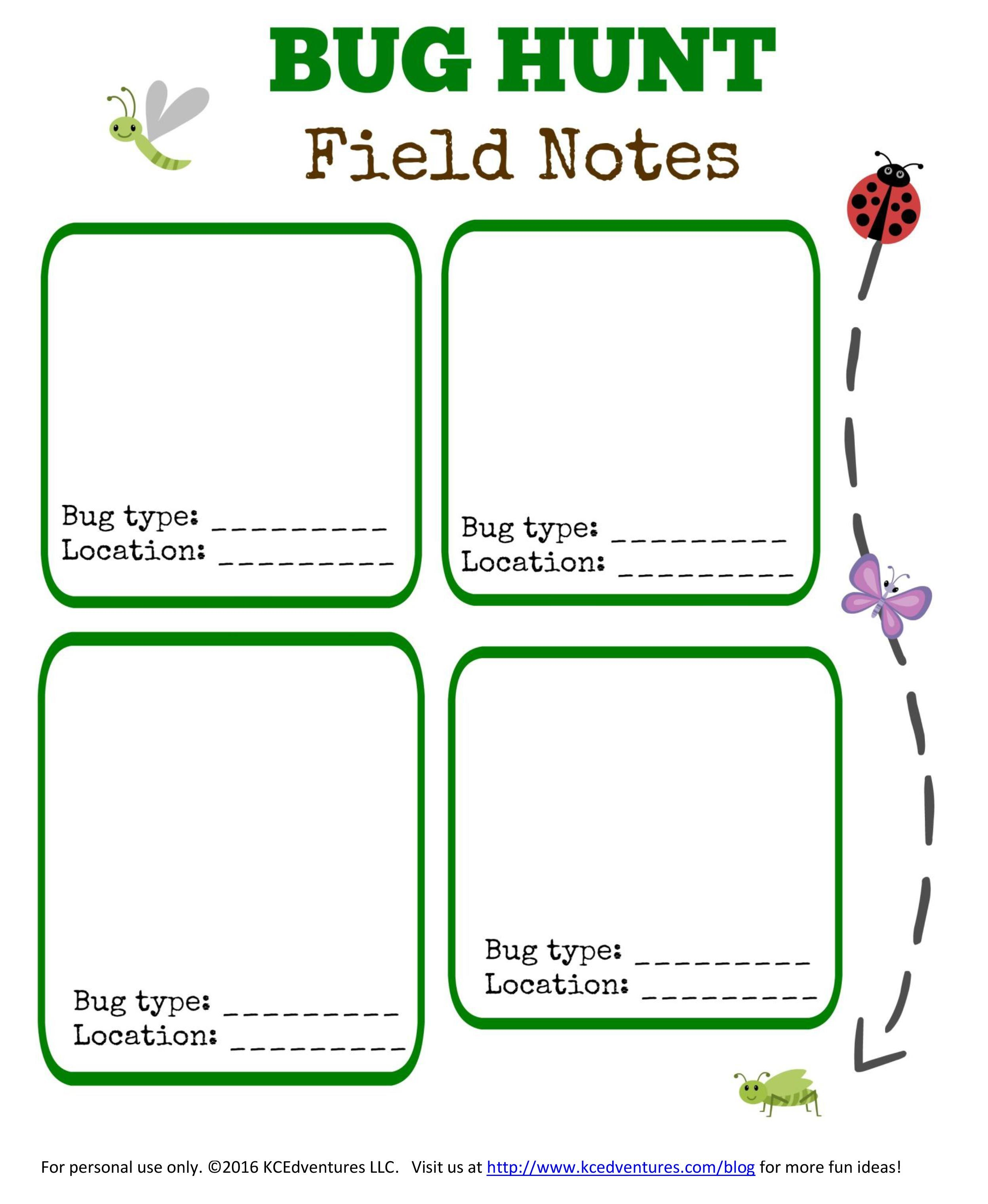 Bug Hunt: Outdoor Activities for Kids {w/free printable} | Free ...