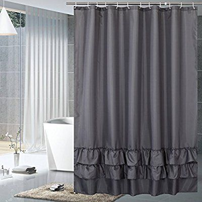 Amazon Yuunity Ruffle Shower Curtain Polyester Fabric Mildew Resistant Anti Bacterial Non Toxic Washable White Grey 72x80 Home Kitchen