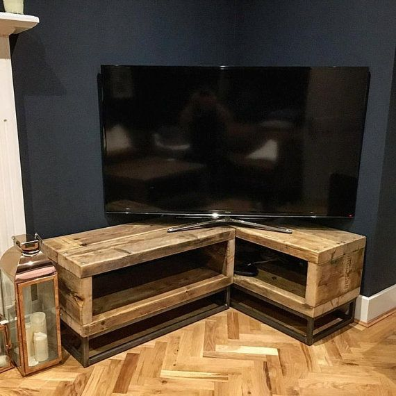 industrial chic reclaimed corner tv unit stand media unit steel and wood metal hand made in sheffield 064 - Living Room With Tv In Corner
