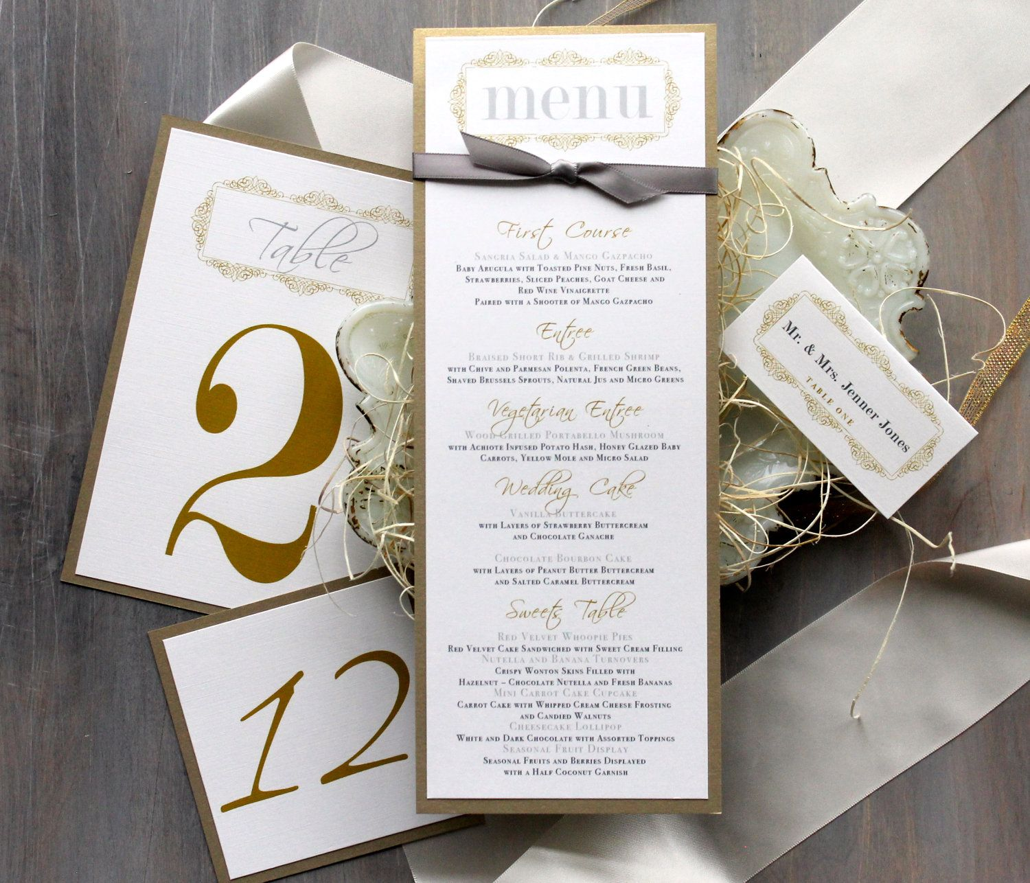 Gold Wedding Menu Cards Personalized Place By BeaconLane