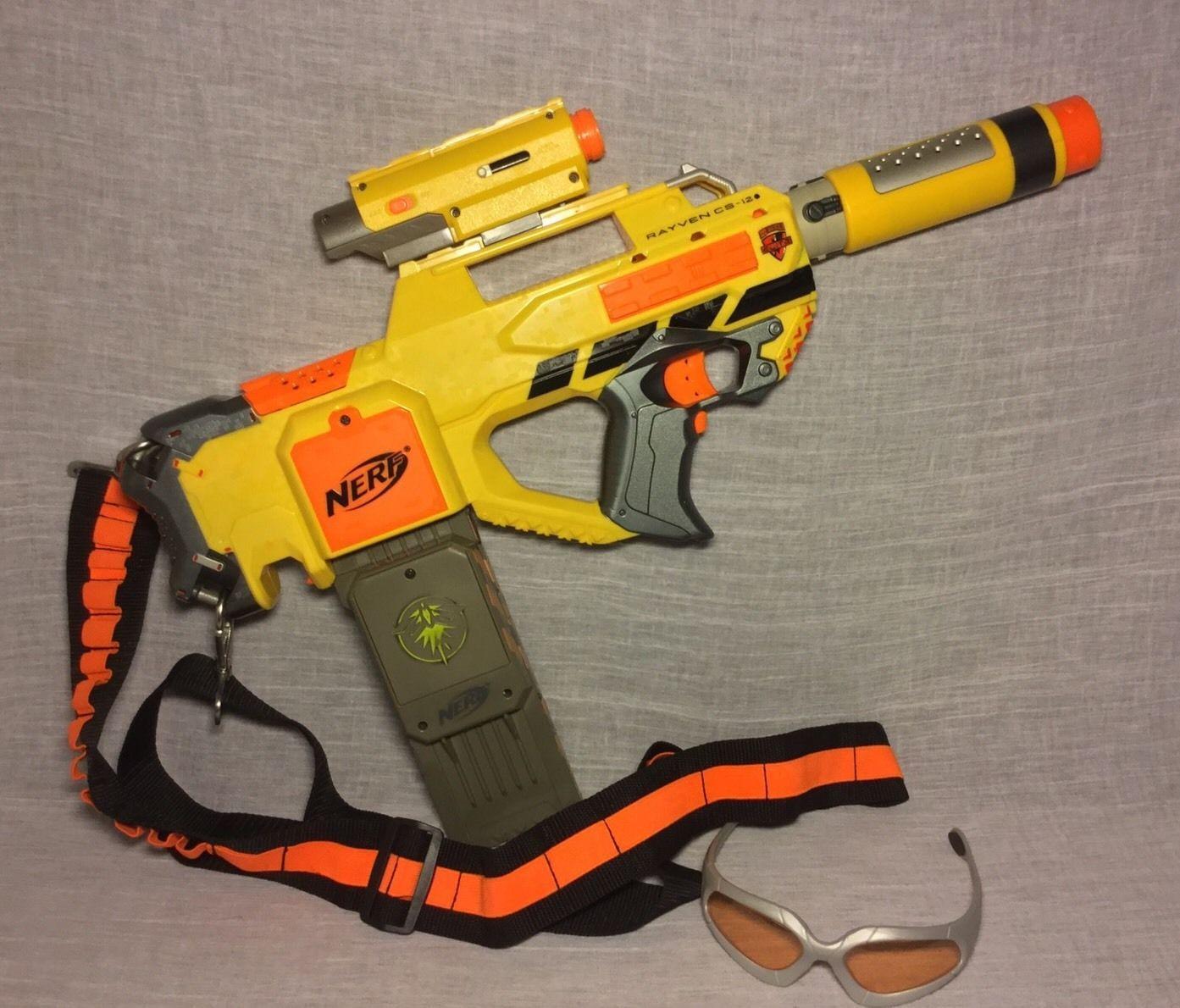 NERF N-Strike Yellow Rayven CS-12 Rifle Gun Darts Silencer Laser Sight Strap