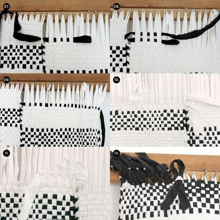 teppich selber machen schwarz weiss weben anleitung diy jessi 39 s pinterest weben basteln. Black Bedroom Furniture Sets. Home Design Ideas