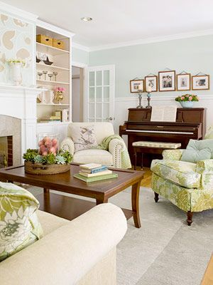 A Garden Inspired Living Room Makeover Living Room Furniture Arrangement Piano Living Rooms Living Room With Fireplace