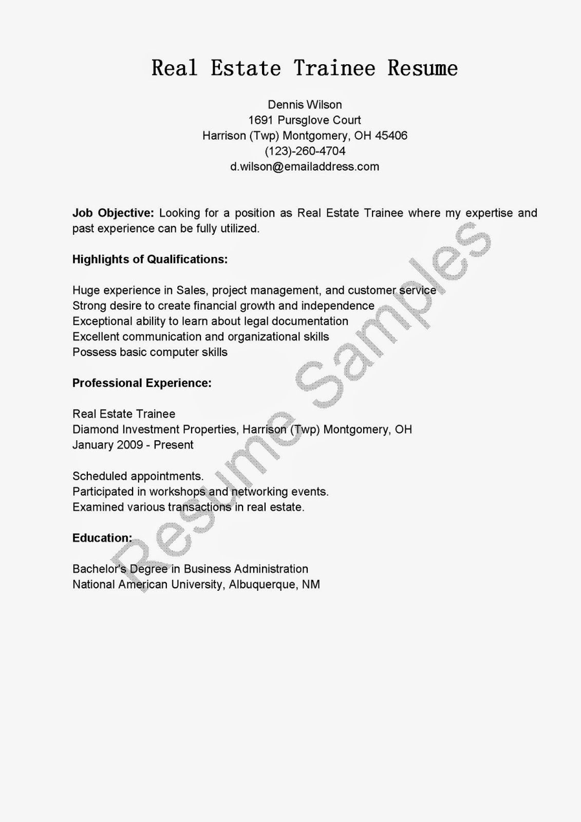 Real Estate Trainee Resume Sample Resume Samples  Resame