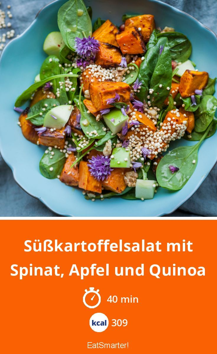 Photo of Sweet potato salad with spinach, apple and quinoa