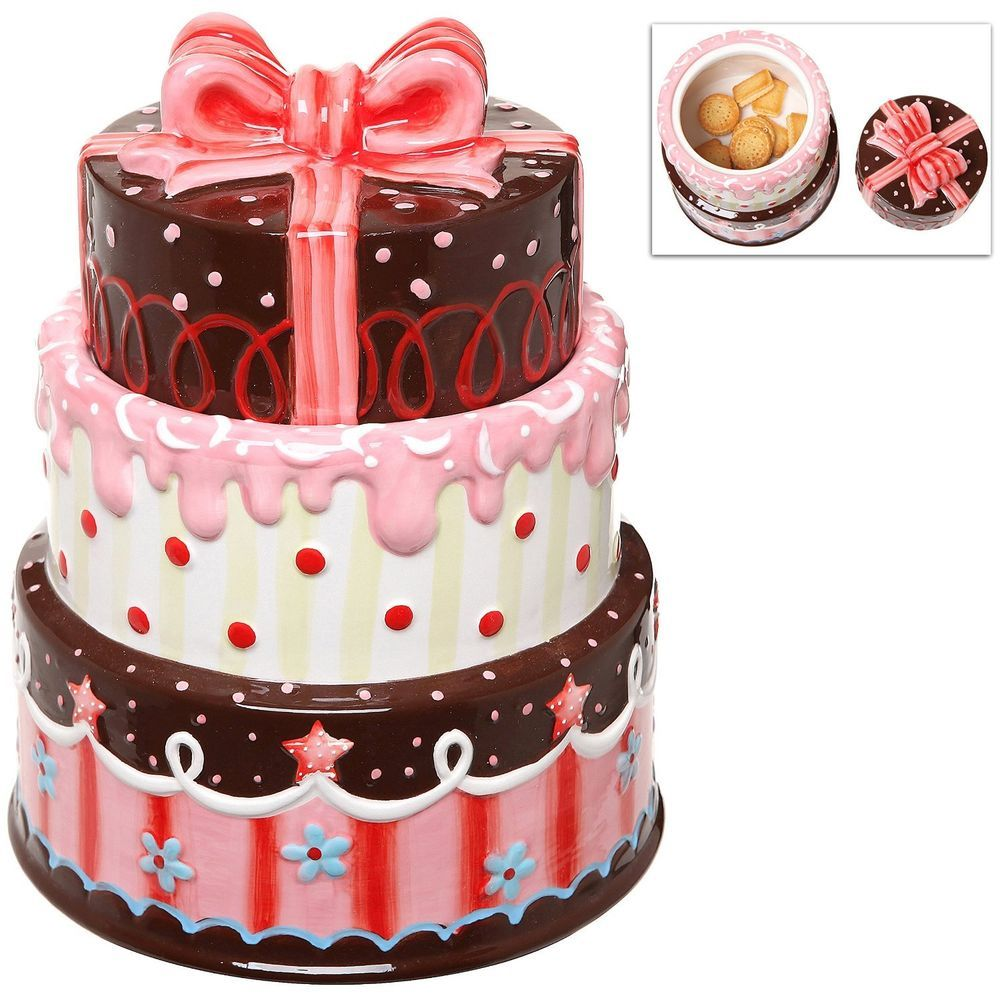 3 layer cake design ceramic cookie biscuit snack storage jar