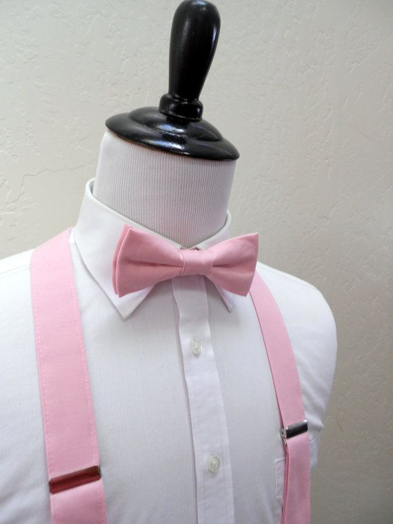f665736b4339 Baby Pink Bow Tie and Suspenders for Men in 2019 | Suspenders | Pink ...
