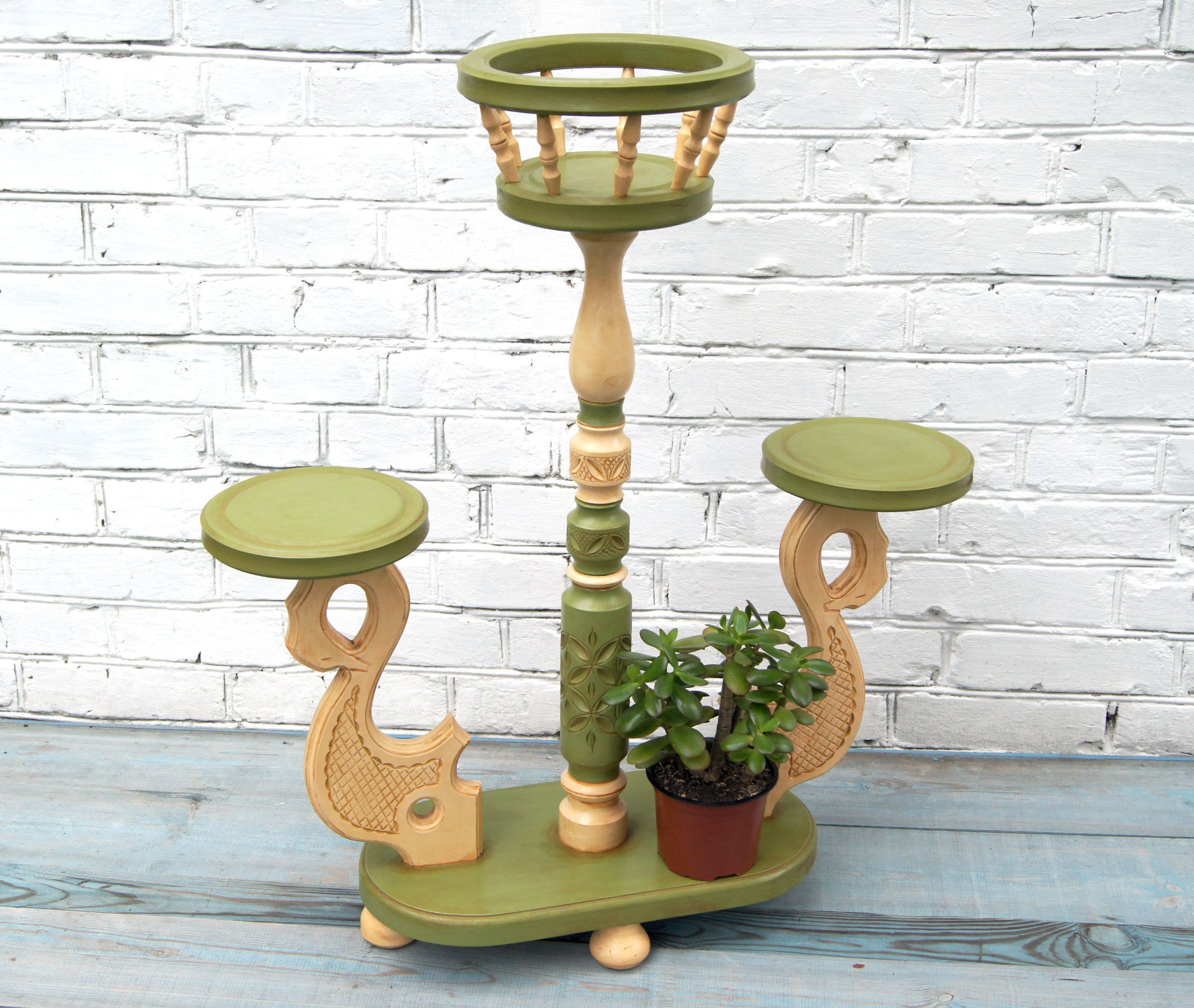 Large Wooden Plant Holder Wood Indoor Plant Stand Greem Wooden
