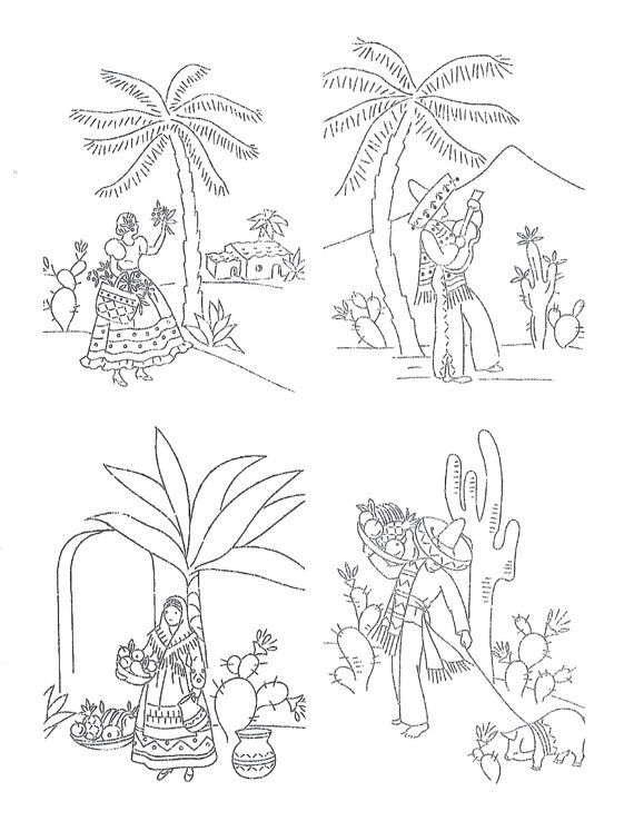 Digital Embroidery a Mexican Designs for Kitchen dish towels # 1903 in PDF format instant download 1940s #dishtowels