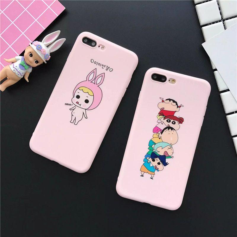 Good Baby Skin Feel Scrub Thin Soft Silicone Pink TPU Fundas Phone Cases for iPhone 6 6S 7 Plus Cute Crayon Shin Chan Cover Caso