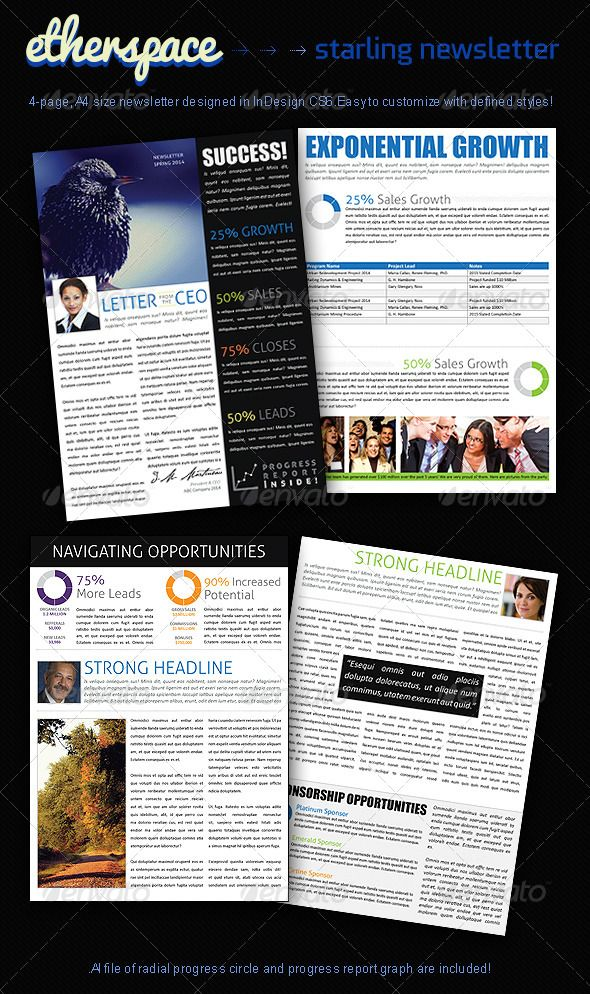Starling 4-Page Business Newsletter Newsletter templates and - business newsletter