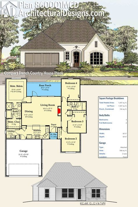 Plan 860001MCD Compact French Country House Plan Acadian house