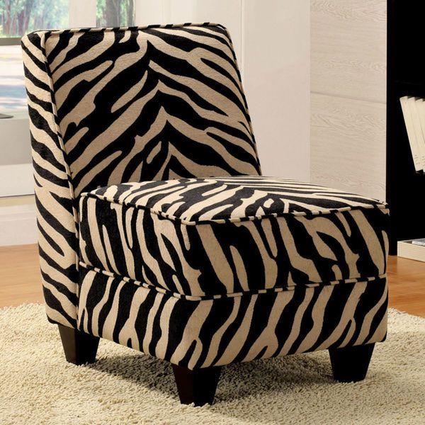 Zebra Print Accent Chair Decor Black White Animal Modern Armless Chair