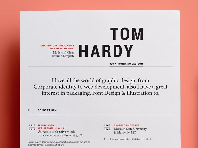 Free Resume Template Template, Typography and Cv ideas - graphic design resume template