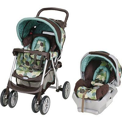 Blue Brown And Green Baby Carseat And Stroller Set Baby