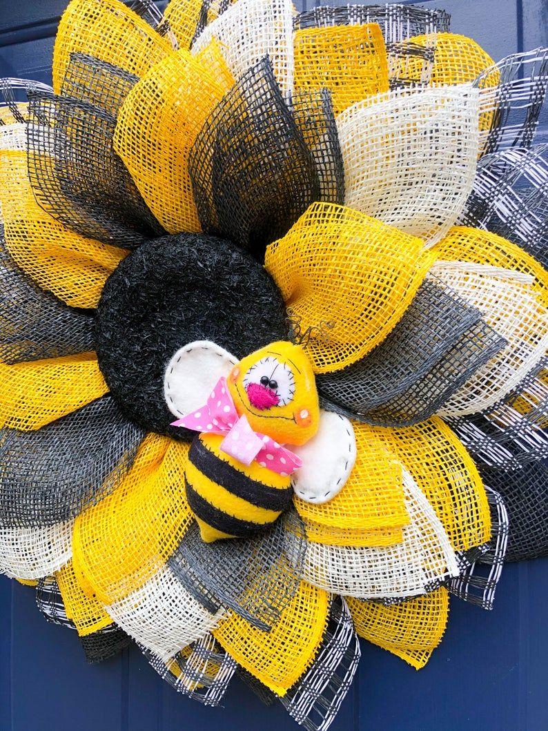 Photo of Sunflower wreath for the front door, sunflower wreath, alternative wreath, front door decor, bumblebee wreath, bumblebee wreath for the front door