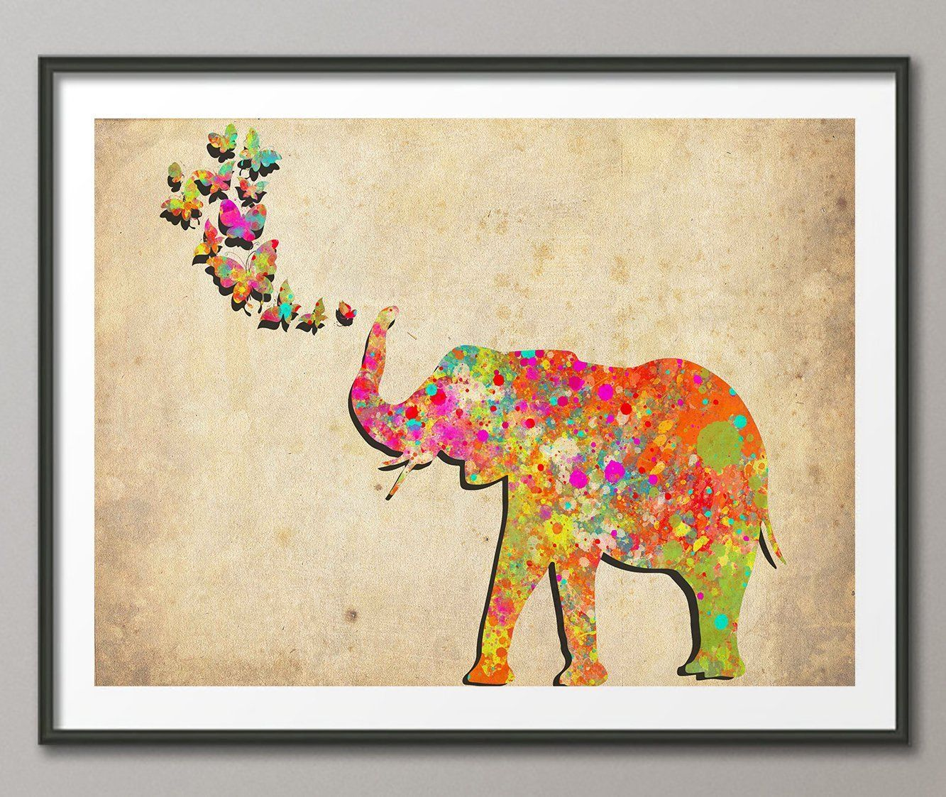 Vintage Elephant Spraying Butterfly Watercolor Posters Art Prints Wall Decor Artworks Dining Room