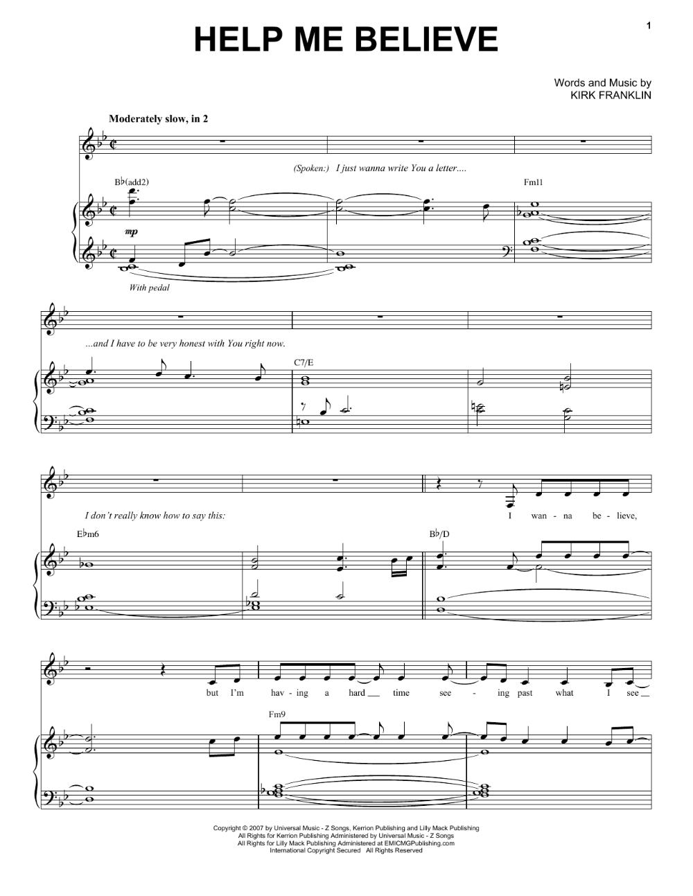 Kirk Franklin Help Me Believe 67331 in 2020 Sheet music