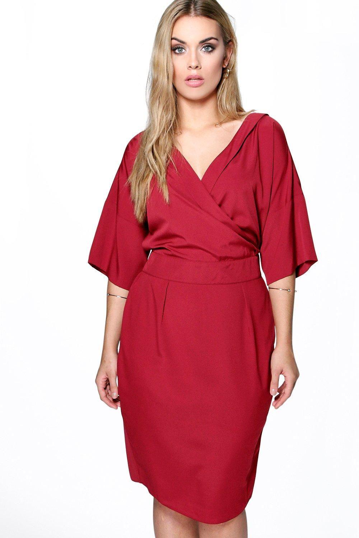 Plus liv wrap front woven wiggle dress formal dress pinterest