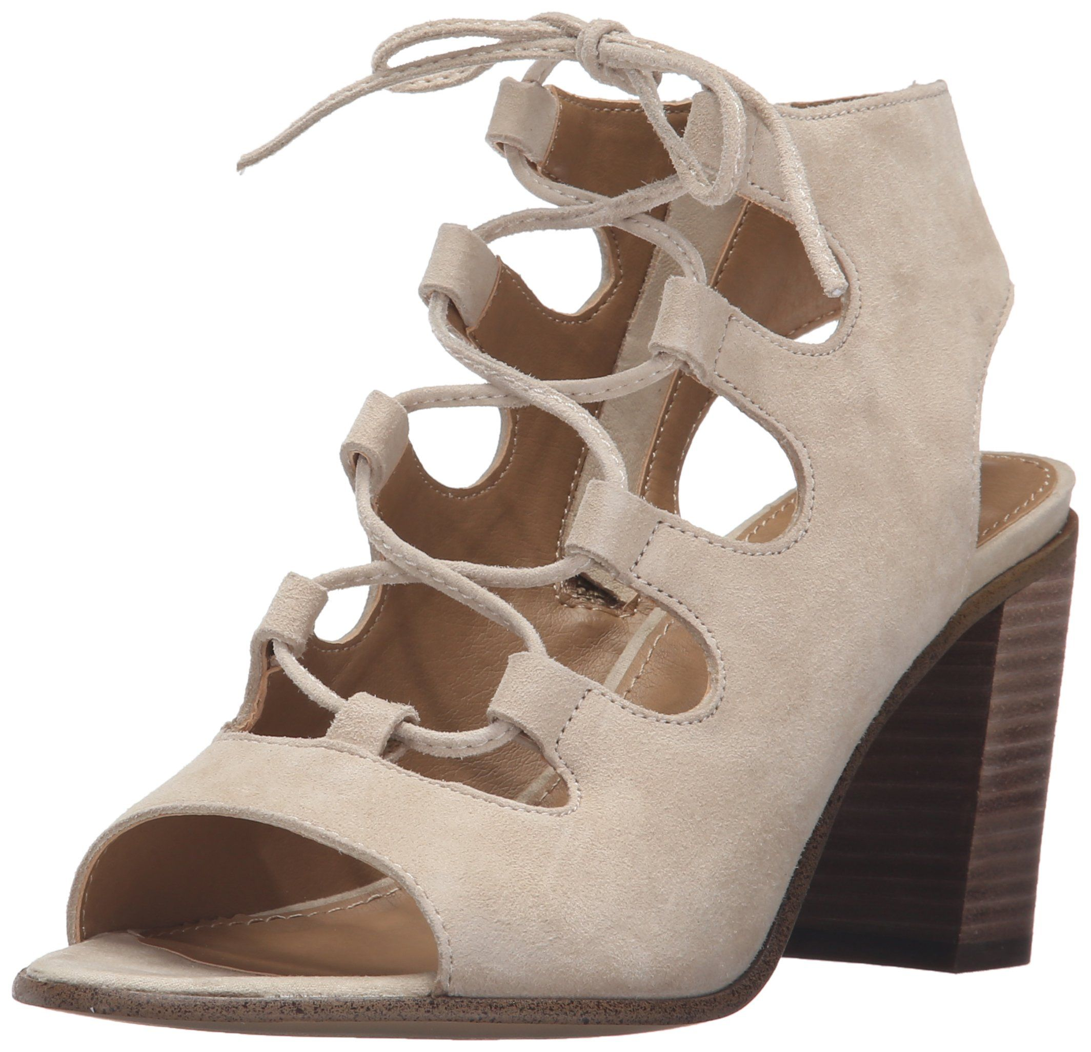 Steve Madden Women's Nilunda dress Sandal, Sand Suede, 8 M US. Mule-inspired sandal featuring peep-toe opening and lace-up vamp. Exposed side zipper. Stacked block heel.