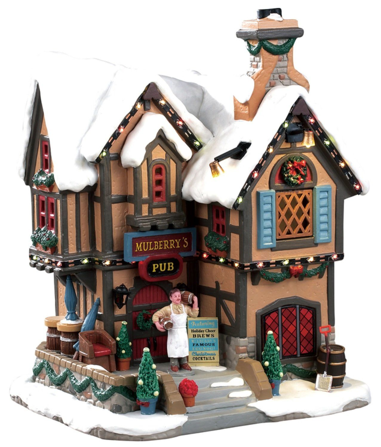 Lemax 2021 Christmas Village House Lemax 95469 Mulberry S Pub Christmas Village Building Multicolored In 2021 Lemax Christmas Village Lemax Christmas Christmas Village Houses