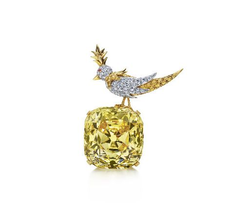 """Bird on a Rock Jean Schlumberger's most well known setting, """"Bird on a Rock,"""" showcases the 128.54-carat Tiffany Diamond, one of the world's largest and finest fancy diamonds, on permanent view on the main floor of Tiffany's New York flagship store."""