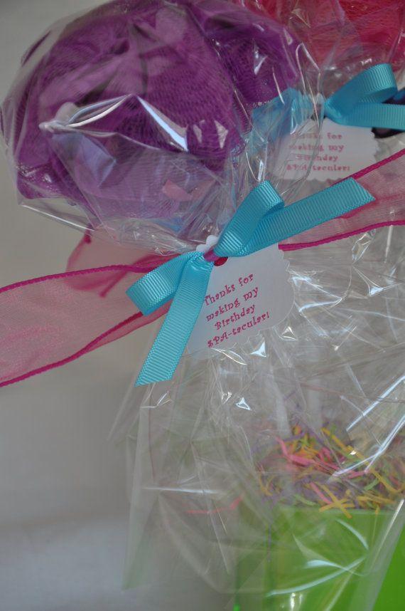 Girls Spa Party Favor Bath Puff Lollipop Set of by KristinsWhimsy