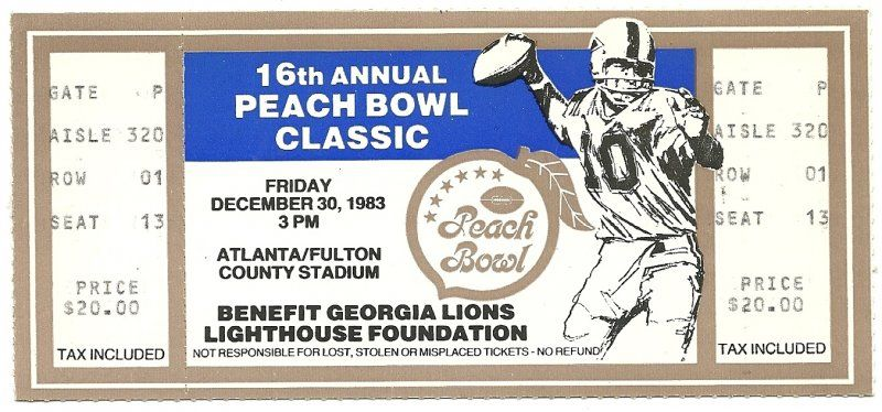 1983 peach bowl game full ticket florida state north