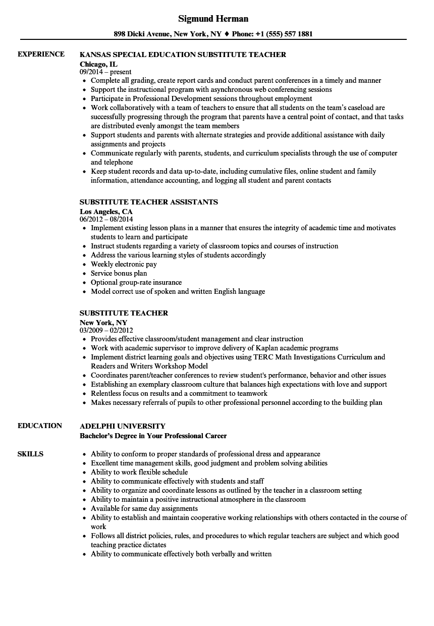 Substitute Teacher Resume Examples Elegant Sub Teacher