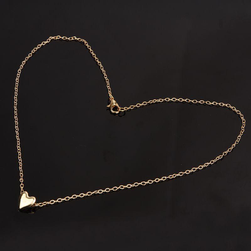 Gold Plated Heart Pendant Bib statement Chain Necklace Fashion Women Jewelry