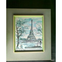 "PARIS LA TOUR EIFFEL WATERCOLOR PRINT. SIGNED! ""ARNO"" FRAME WITHIN A FRAME BEHIND GLASS. 32,5 X 40cm"
