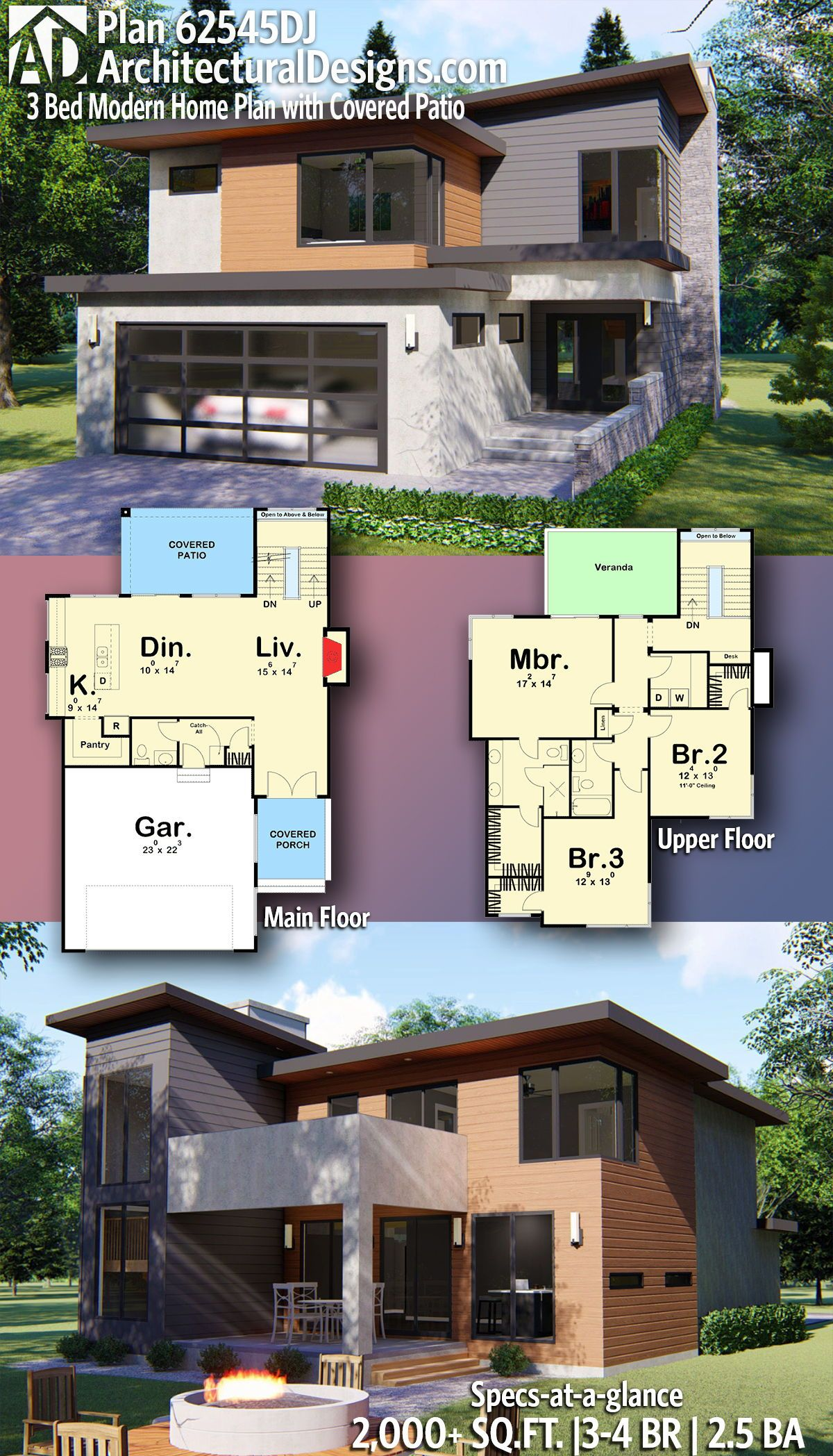 Plan 62545dj 3 Bed Modern Home Plan With Covered Patio House Plans Modern House Plans Modern House