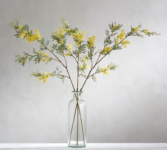 Faux Acacia Branch Yellow Yellow Pottery Square Glass Vase Tall Glass Vases