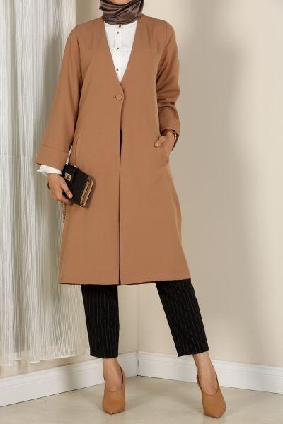 Dugmeli Sik Tesettur Uzun Ceket Modelleri Kadin Ceketleri Blazer Ceket Asimetrik Elbise