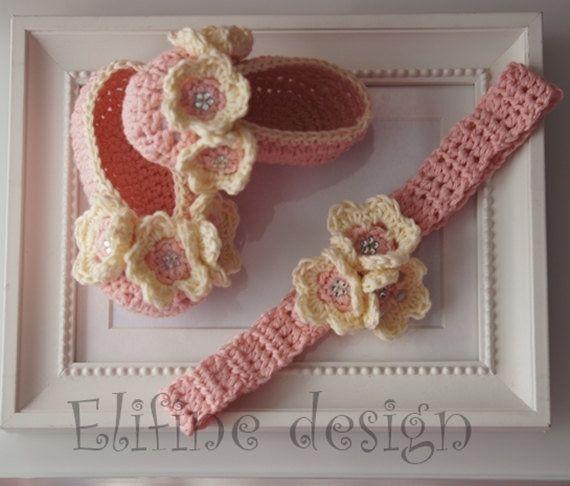 Crochet pattern, crochet ballet shoes, crochet headband, crochet ...