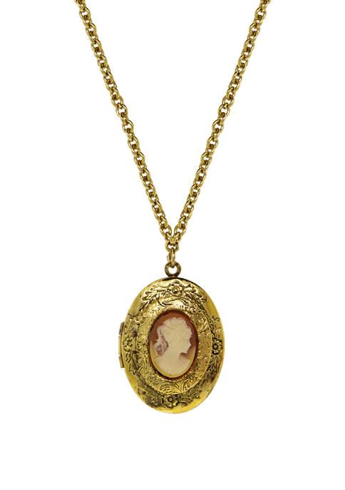 1928 Jewelry 28 Inch Gold Tone Carnelian Cameo Double Locket Necklace Unique Locket Necklace Locket Necklace Vintage Vintage Cameo Jewelry