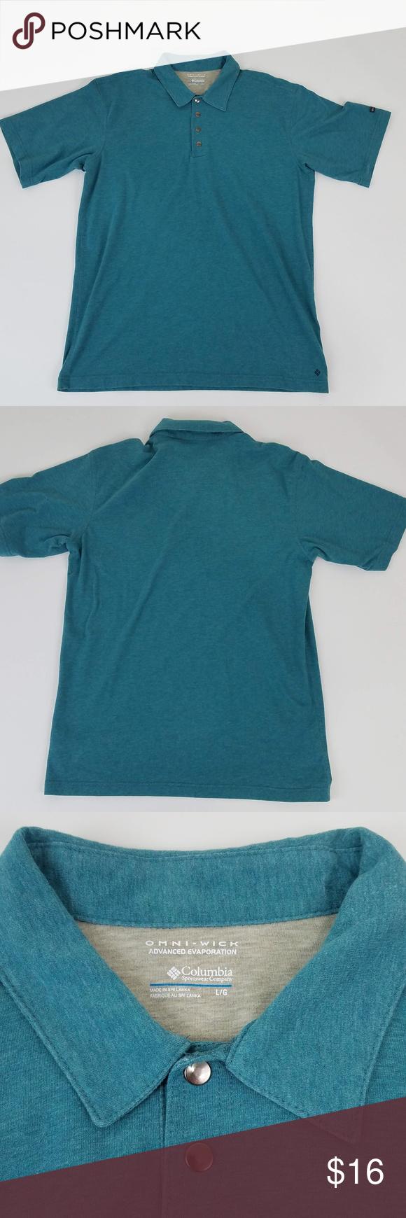 fb44b5e4d99 Columbia Men's Large Polo Shirt Omni-Wick Men's Columbia Omni-Wick  Turquoise 4 Snap Button Short Sleeve Polo. Logo on Sleeve. Size Large. Made  in Sri Lanka.
